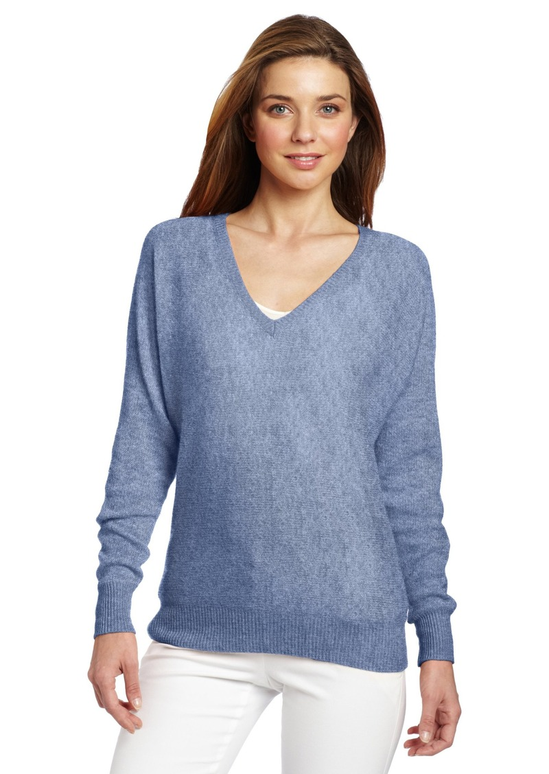 Minnie Rose Women's 100% Cashmere V-Neck Dolman Sleeve Pullover Sweater