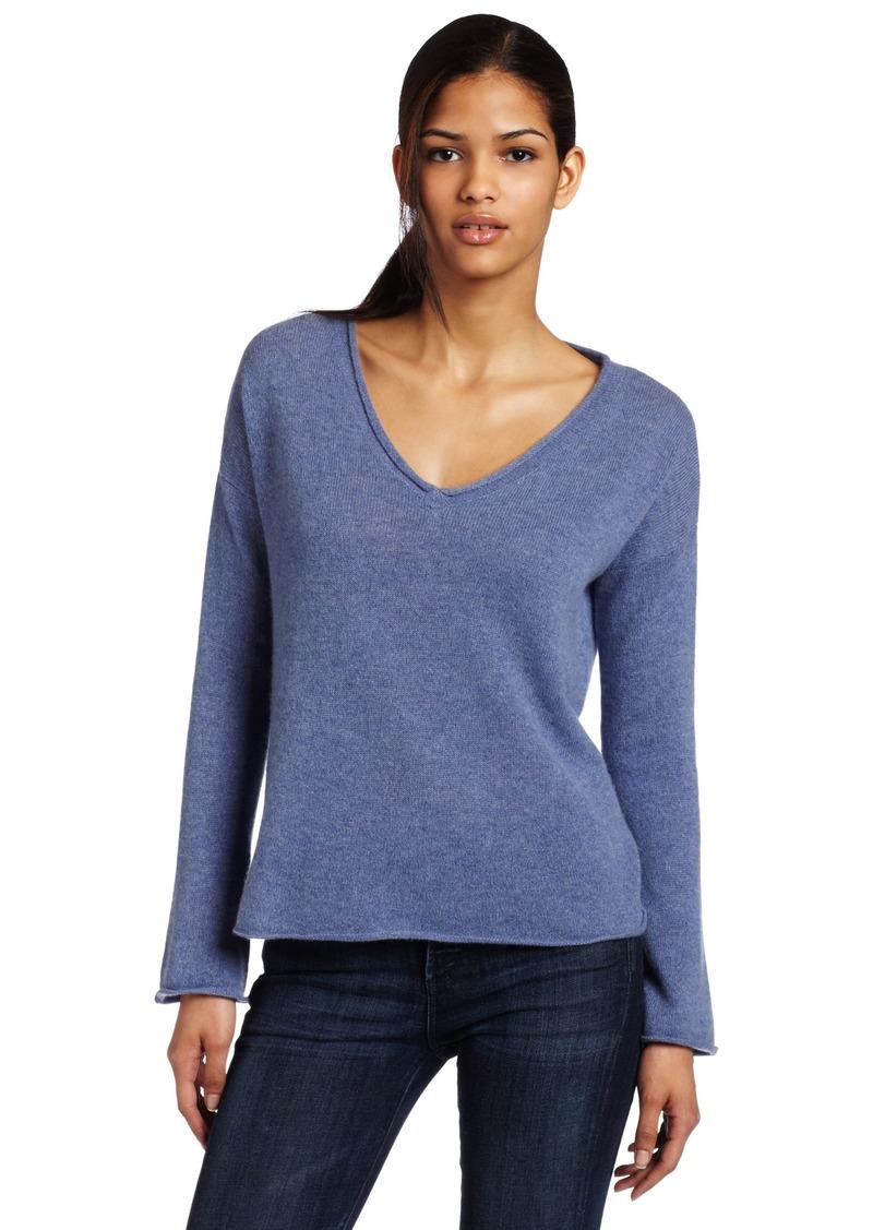 Minnie Rose Women's 100% Cashmere V-neck Pullover Sweater