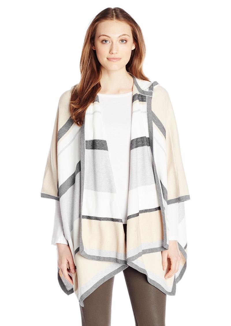 Minnie Rose Women's Cotton Birdseye Serape Sweater