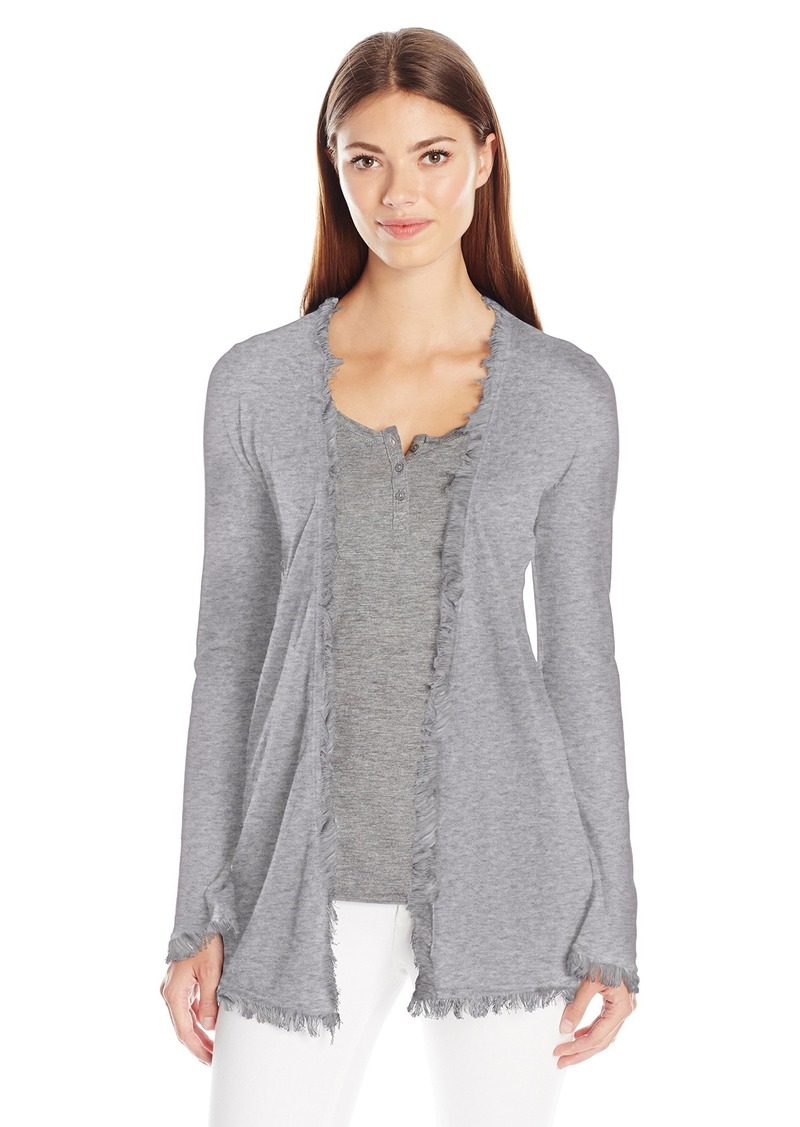 Minnie Rose Women's Frayed Cotton Cardigan with Flare Sleeves  L