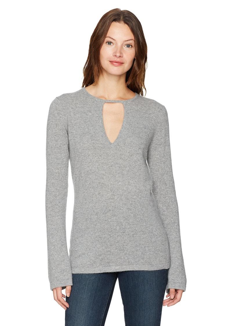 Minnie Rose Women's Long Sleeve Cashmere Key Hole Sweater  M