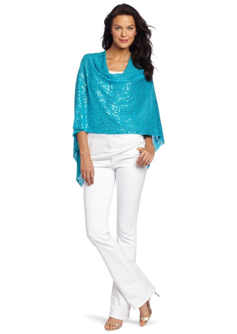 Minnie Rose Women's Sequin Ruana Sweater