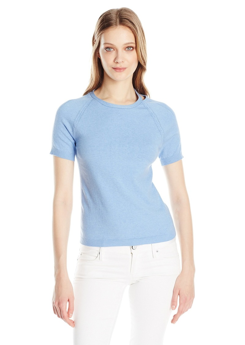 Minnie Rose Women's Short Sleeve Fitted Sweater with Shoulder Detail  L