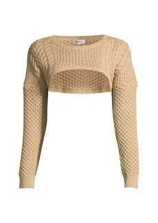 Minnie Rose Pointelle Cotton Knit Crop Top