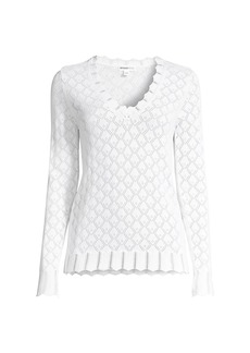 Minnie Rose Pointelle Knit Sweater