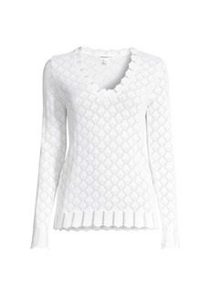 Minnie Rose Pointelle Knit Sweater