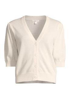 Minnie Rose Puff-Sleeve Cashmere Cardigan