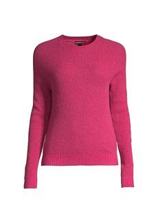 Minnie Rose Shaker Stitch Cashmere Crewneck Sweater