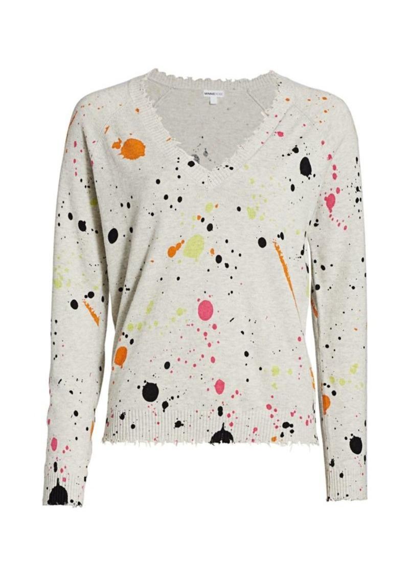 Minnie Rose Spilt Paint Distressed Pullover