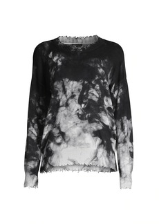 Minnie Rose Tie-Dye Distressed Crewneck Sweatshirt