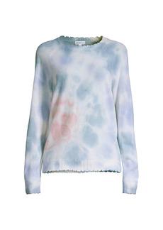 Minnie Rose Tie Dye Scallop Cashmere-Blend Sweater