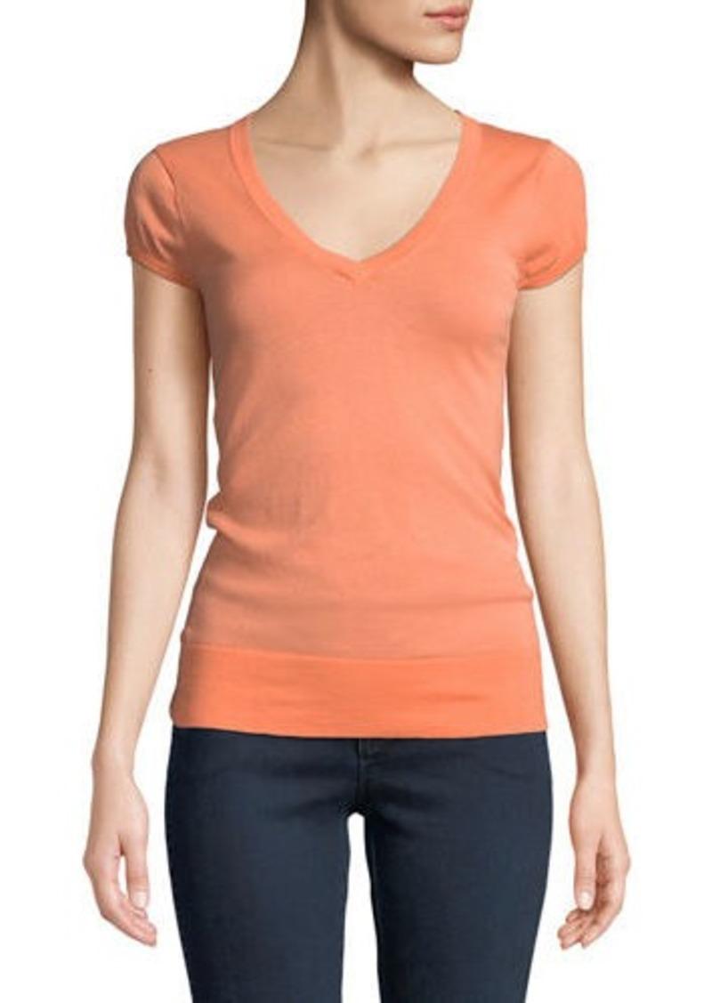 Minnie Rose V-Neck Cap-Sleeve Lightweight Sweater