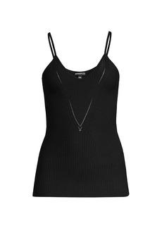 Minnie Rose V-Neck Rib-Knit Camisole