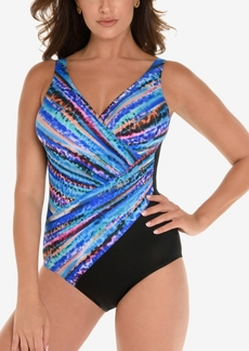 Miraclesuit Animal Spectrum Printed Twist-Front Allover Slimming One-Piece Swimsuit Women's Swimsuit