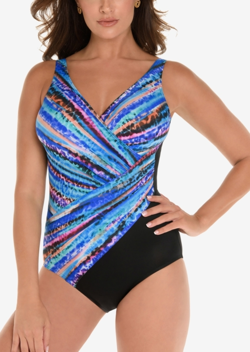 3226d8d527ba0 Miraclesuit Animal Spectrum Printed Twist-Front Allover Slimming One-Piece  Swimsuit Women's Swimsuit