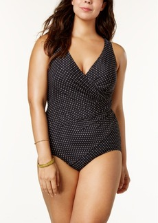 Miraclesuit Plus Size Oceanus Tummy-Control Dot-Print One-Piece Swimsuit Women's Swimsuit