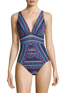 Miraclesuit Caravan Odyssey Geometric-Print One-Piece Swimsuit