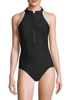 Miraclesuit MSP Swim Finish Line Zip One-Piece Swimsuit