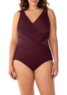 Miraclesuit Plus Size Illusionist Crossover One-Piece Swimsuit