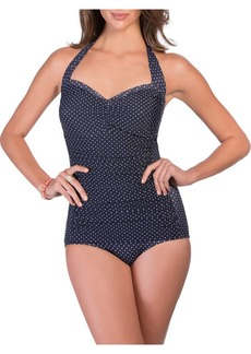 Miraclesuit Polka Dot One-Piece Halter Swimsuit