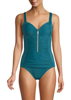 Miraclesuit So Riche Zip Code Shirred-Front Solid One-Piece