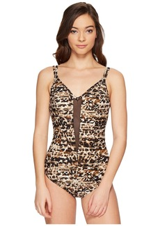 Miraclesuit Wild Side Mesh Plunge One-Piece