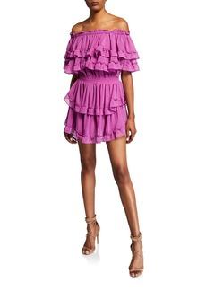 Misa Isella Off-Shoulder Tiered Ruffle Mini Dress