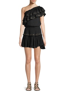Misa Larisa One-Shoulder Ruffle Mini Dress