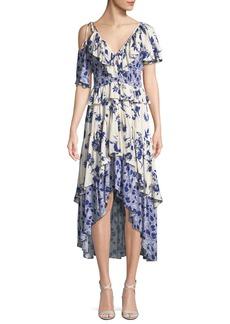 Misa Liv Floral-Print Ruffle High-Low Dress
