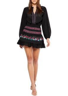 Misa Manuela Embroidered Mini Dress