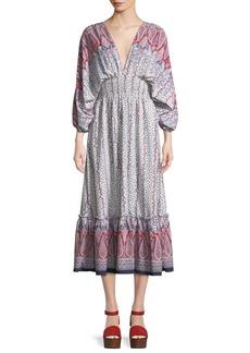Misa Matilda Paisley Tie-Back Midi Dress