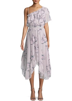 Misa Alexandra One-Shoulder Floral Midi Dress