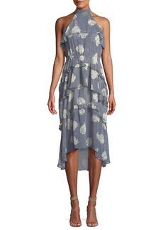 Misa Anca Floral Ruffle Halter Midi Dress