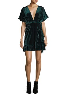 Misa Desma Plunging Velvet Wrap Dress