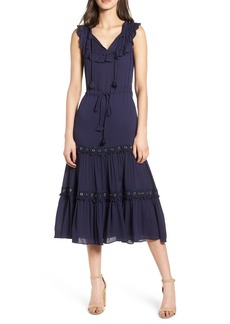MISA Los Angeles Gabriella Tie Waist Midi Dress