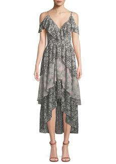 Misa Idalia Floral-Print Ruffle High-Low Dress