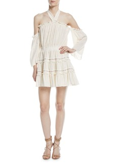 Misa Kerry Off-the-Shoulder Tiered Ruffle Gauze Skirt