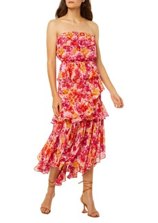 MISA Los Angeles Luciana Floral Strapless Asymmetric Dress