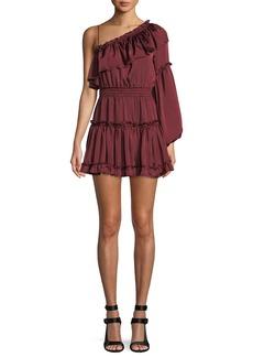 Misa Lucien Off-the-Shoulder Satin Mini Dress