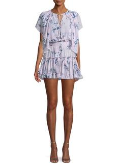 Misa Lullu Floral-Print Ruffle Mini Dress