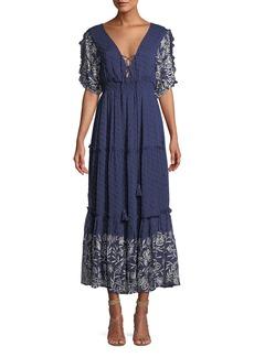 Misa Lunah Printed Ruffle Maxi Dress