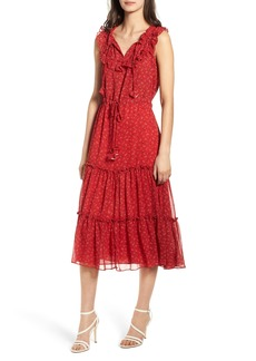 MISA Los Angeles Marcel Ruffle Trim Midi Dress