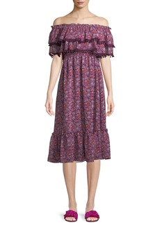 Misa Maribel Off-the-Shoulder Chiffon Midi Dress