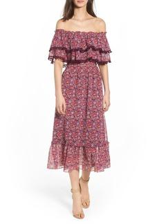 MISA Los Angeles Maribel Off the Shoulder Midi Dress