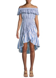 Misa Marin Striped Off-the-Shoulder High-Low Dress