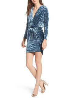 MISA Los Angeles Ophelie Knot Front Crushed Velvet Minidress