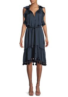 Misa Pillar Flounce Midi Dress