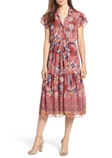 MISA Los Angeles Violette Floral Ruffle Sleeve Dress