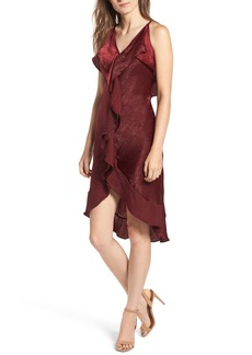 MISA Los Angles Ele Ruffle Crinkled Satin Slipdress
