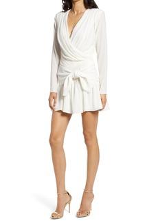 Misha Collection MISHA Amelie Long Sleeve Faux Wrap Dress